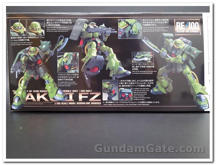 Mặt hông hộp RE 100 Zaku II Kai