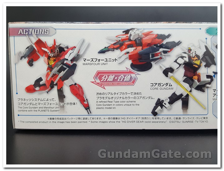 2 cấu hình tùy chọn trên mặt hông hộp Core Gundam & Marsfour