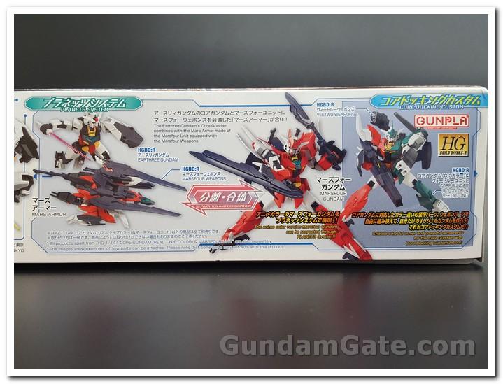 Mặt hông khác của hộp Core Gundam & Marsfour với các loại vũ khí
