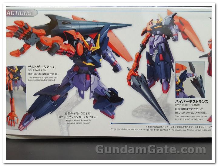 Một mặt của hộp thể hiện các nét đặc trưng của Gundam Seltzam