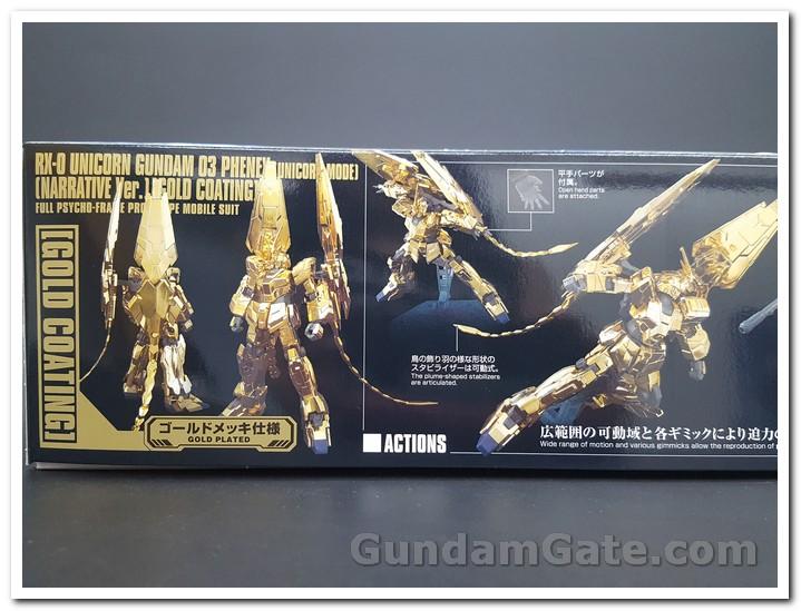 Mặt trước và sau  của HGUC Unicorn Gundam Unit 3 Fenex sau khi lắp rắp hoàn chỉnh