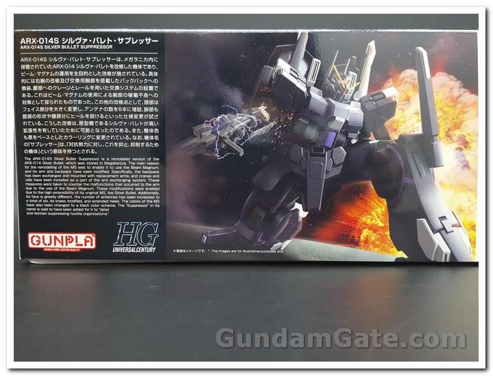 Giới thiệu bằng 2 ngông ngữ Nhật-Anh sau lưng hộp HGUC Silver Bullet Suppressor